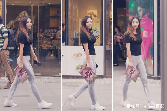 街拍:穿健身裤的小美女,身材婀娜,透着一种健康之美
