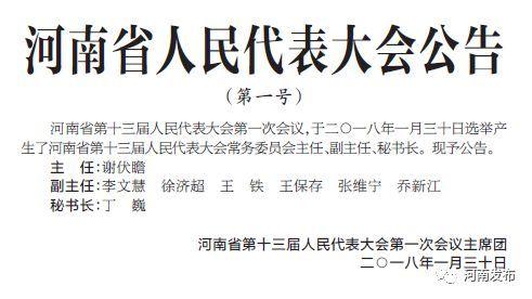 河南省十三届人大常委会主任、副主任、秘书长简历